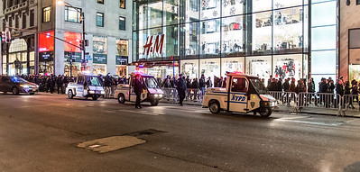 NYPD officers cordoning off protesters on Fifth Ave. after the Christmas Tree lighting at the Rockefeller Center