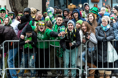 Revelers celebrate at the parade on Fifth Ave