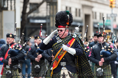 NYC Correction Department Emerald Society Pipe Band  saluting the dignitaries at St. Patrick's Cathedral