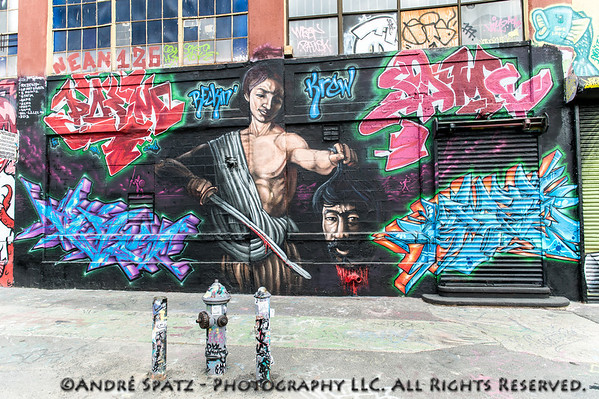 This mural of David & Goliath can be seen as a symbol of 5 Pointz' fight against the land developers. The mural is a collaboration between US artists Breaking Crew, Static and Poem