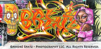 Graffiti in 5 Pointz by Brinxj, Fred, Djalouz, Doudou
