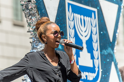 State of Israel Float with singer Hagit Yaso -winner of the ninth season of Kokhav Nolad (Israeli Idol)