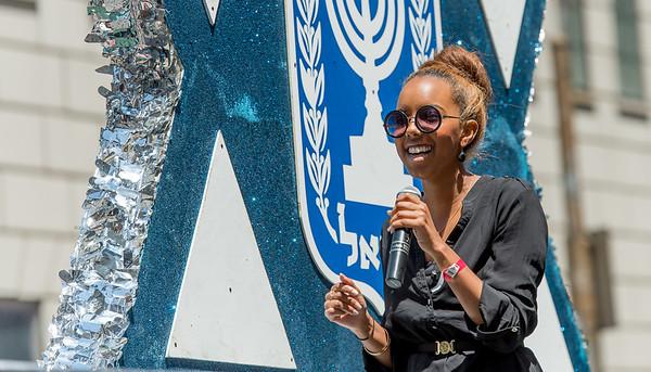 State of Israel Float with singer Hagit Yaso -winner of the ninth season of Kokhav Nolad (Israeli Idol)