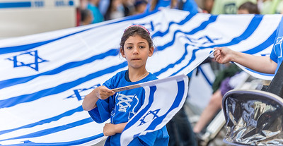 Helping to carry the Israeli Flag - youth from the World Zionist Organization
