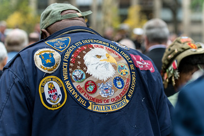 Veteran in prayer at the 2014 Veterans Day Parade Opening Ceremony.