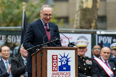 The Honorable Charles E. Schumer, New York U.S. Senator during the Veterans Day Parade Opening Ceremony.