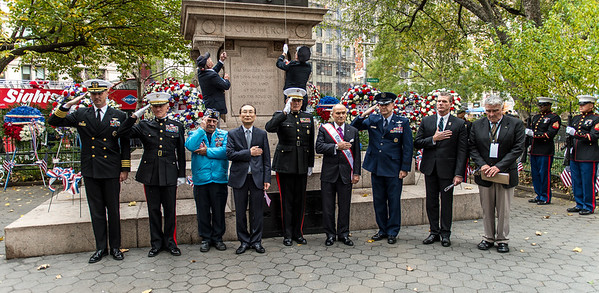 Wreath laying and 21-rifle salute at the Eternal Light Monument - with General John F. Kelly - Honorary Grand Marshal. Commander U.S. Southern, Raymond W. Kelly, Former Commissioner, NYPD. Grand Marshall , U.S. Air Force Lieutenant General Stephen L. Hoog