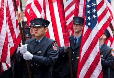 Flags carried by the Fire Dep. of the City of New York, FDNY at the 2014 Veterans Day Parade