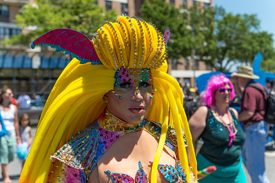 Revelers at The Mermaid Parade at Coney Island, NY