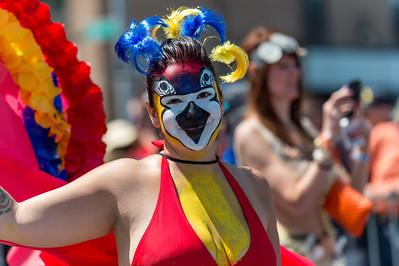 Mermaid reveler as a colorful clown