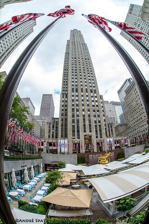 US Flags around the Rockefeller Center on the 4th of July