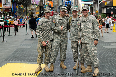 US Army soldiers visiting Times Square on Independence Day.