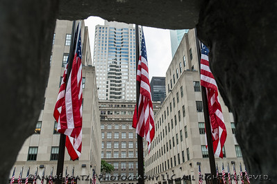 US Flags at Rockefeller Center on the 4th of July