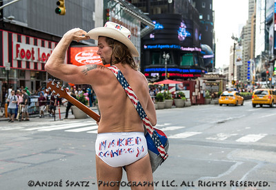 The famous Times Square Naked Cowboy in US Independence Day colors.
