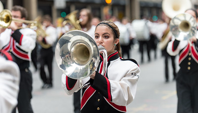 The marching band of the W. Tresper Clarke High School, Long Island, New York