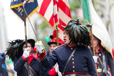 The Bersaglieri from the Italian Army presenting honors at the 70th Columbus Day Parade.