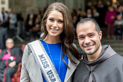 Miss USA Nia Sanchez and a Friar from Nevada honoring the Italian-American heritage at the Columbus Day Parade.