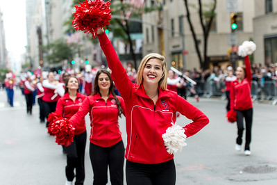 Cheerleaders of the The Stony Brook University Seawolves, Stony Brook, New York, during the parade.