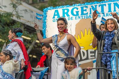 Reina UDEA, Union De Entidades Argentinas, during the parade.