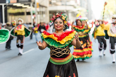 Colombian dancer in traditional costume.