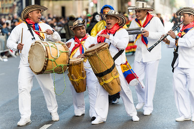 Colombian drums band in traditional costume.