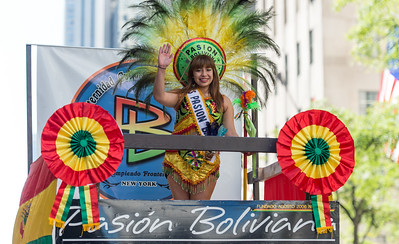 The Miss Passion Boliviana headling the Bolivian cultural float.