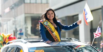 The Equadorian parade Queen heading the Equador marchers and dancers.