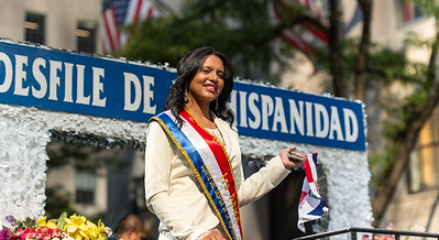 The 1st Lady of the Hispanic Parade on the lead float of the Parade