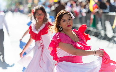 Dancers in traditional costumes from the Ecuadorian Civic Committe of New York
