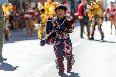 Young Bolivian dancer in the parade.