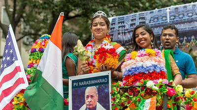 Young costumed members of the PV Narasimharao float