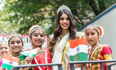 Beauty Queen and her entourage in traditional costumes celebrating the India Day Parade