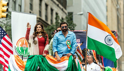 Celebrity and actress Raveena Tandon and Actor Sunny Deol - Bollywood Grand Marshal.