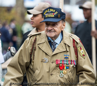 WW II Veteran at a ceremony before the start of the 2013 Veterans Day Parade.