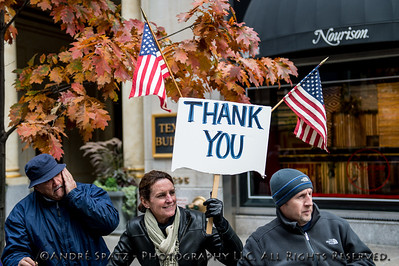 Spectators along 5th Avenue thanking the troops and the veterans