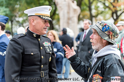 Veteran in discussion with US Marines Brig. Gen. at the ceremony before the start of the 2013 Veterans Day Parade.