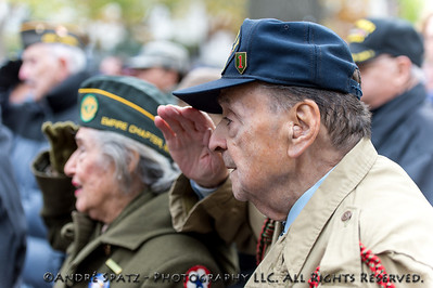 WW II Veterans at a ceremony before the start of the 2013 Veterans Day Parade.