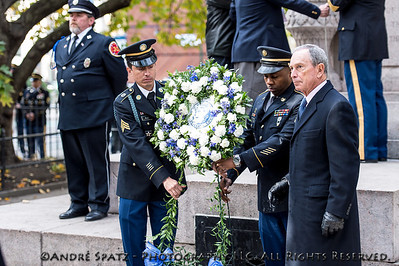 Wreath laying at the Eternal Light Monument by NYC Mayor Michael Bloomberg