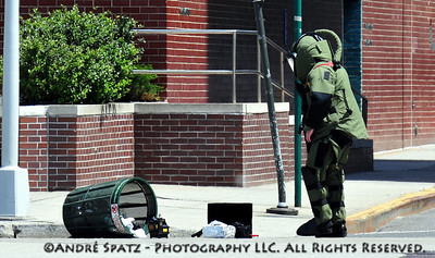 NYPD Bomb squad in action on the West Side Highway in Manhattan