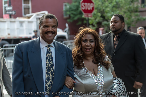 Aretha Franklin and William Wilkerson attend  President Obama's fundraiser at Sarah Jessica Parker's brownstone in the West Village.