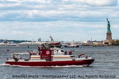FDNY and US Coast Guard in New York Harbor during the Space Shuttle Enterprise flyover.