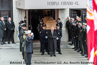 Honor row for Fmr. NYC Mayor Ed Koch's Gasket at the end of the funeral cermony.