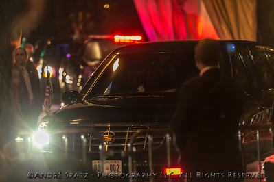 The President convoy in front of S.J. Parker's house in the West Village, NYC