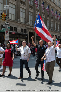 Bronx Borough President Ruben Diaz and fmr. NYC comptroller and mayor candidate Thompson in the Puerto Rican Day Parade.