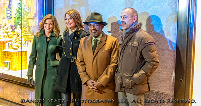 The Today show anchor team that presented the Rockefeller Tree lighting ceremony. Matt Lauer, Al Roker, Savanah Guthrie and Natalie Morales