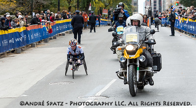 The Winner of the wheelchair division at the NYC 2013 Marathon: Tatyana McFaddenin 01:59:13 from MD,United States