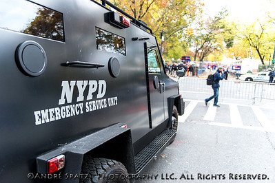 NYPD Emergency Sevice Unit amrored vehicle next to the marathon finish area