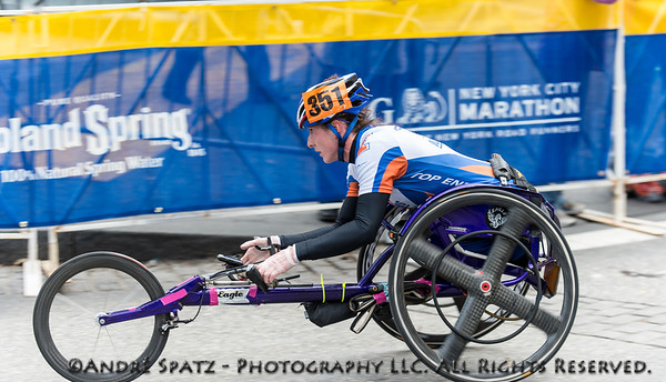 The Winner of the  Women wheelchair division at the NYC 2013 Marathon: Tatyana McFadden	in 01:59:13 from MD,	United States