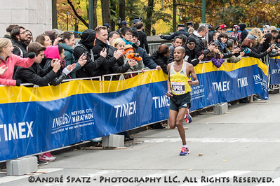 The Third place of the NYC Marathon: Lusapho April- 02:09:45 from 	South Africa