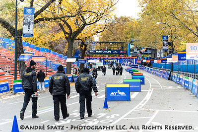 NYPD and security  setting up at the Finish line before the event